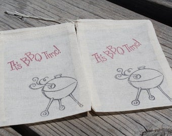 Set of 10 Hand stamped It's BBQ Time Grilling 4th of July Bag Muslin Party Favor Bags Eco Friendly 100% organic