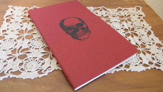 Red Embossed Skull  Lined Journal