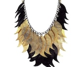 Large High Fashion Metallic Gold Leather and Black Leather Handmade Statement Necklace - Feather Necklace - Evening Necklace - Wearable Art