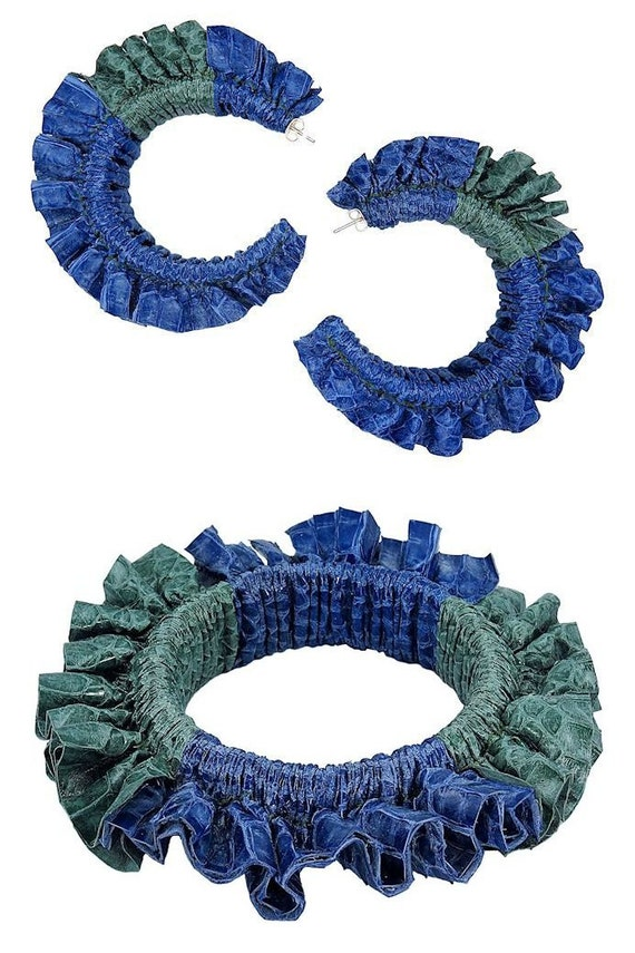 High Fashion Blue and Green Exotic Snakeskin Leather Color Block Scrunch Ruffle Handmade Statement Summer Earrings and Bangle Bracelet Set
