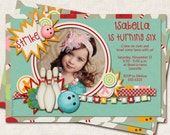 Bowling Birthday Party Invitation, strike, teal, red, orange, digital file, you-print