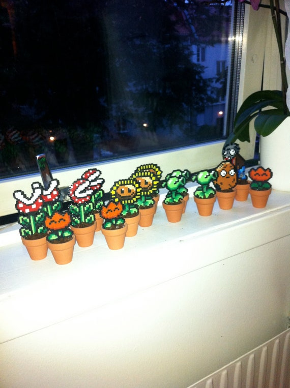 Mini pixel plants with pot, Hama mini