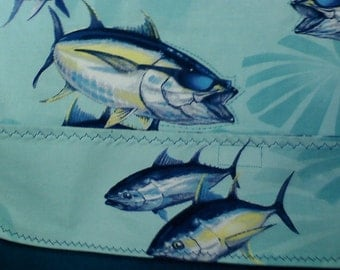 OOAK Upcycled Adult clothing protector, Charlie the tuna sporting sunglasses w/crumb catcher