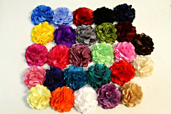 DIY Satin Hair Flowers - SILKY Satin Mesh Flowers, SMALL 2  inch - set of 10