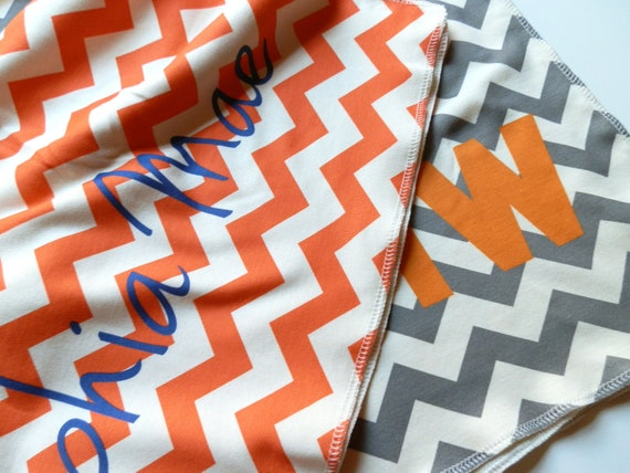 Monogrammed Toddler Blanket, Chevron, Personalized Organic Toddler Bedding
