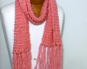 Soft Pink Scarf - Knitted Pink Scarf - Bright, Two-tone Pink, Strawberry Pink