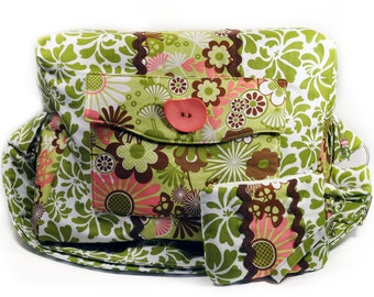 Large Box Bag Retro Green Pink Brown Flowers