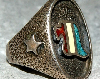 NAVAJO EAGLE RING Tufa Cast Sterling c1950