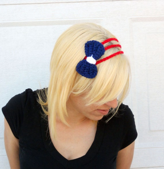Three strand nautical headband, bow tie crochet hairband