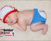 Crochet Baby Baseball Hat and Diaper Cover Set 3-6 M Size
