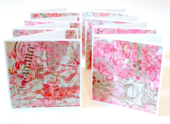 Mini note cards handmade mini cards gift notes pink and mint green jubilee ornate design Set of 8
