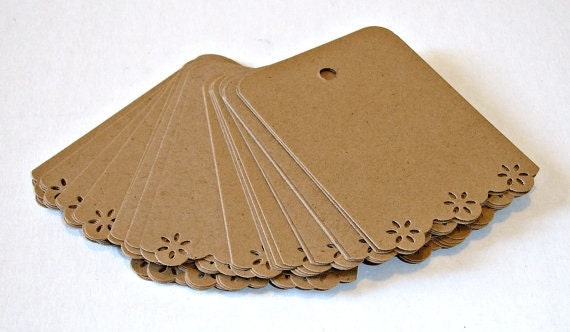 Brown Kraft Gift Tags Hang Tags Lacy Days of Summer - 200 count CUSTOM LISTING