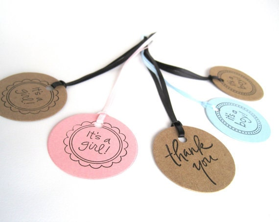 65 Baby shower favor tags, Pink hand stamped gift tags with its a girl and Thank You