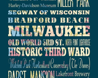 Milwaukee, Wisconsin, Typography Poster/Bus/ Subway Roll Art 16X20-Floral Series-Milwaukee's Attractions Wall Art Decoration-LHA-189-C07