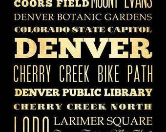 Denver, Colorado, Typography Art Poster / Bus  / Transit / Subway Roll Art 18X24 - Denver's Attractions Wall Art Decoration -  LHA-169
