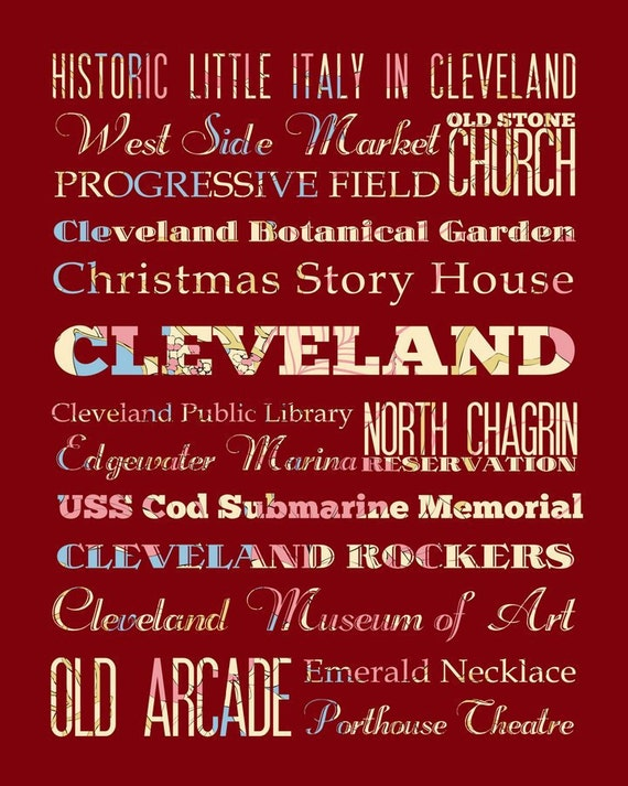 Cleveland, Ohio, Typography Poster/Bus/ Subway Roll Art 16X20 - Floral Series - Cleveland's Attractions Wall Art Decoration -  LHA-167-C08