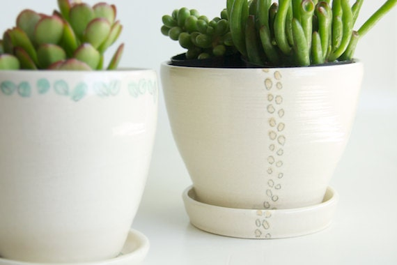 Garden Planter and Saucer- White Ceramic- Beige Polka Dots