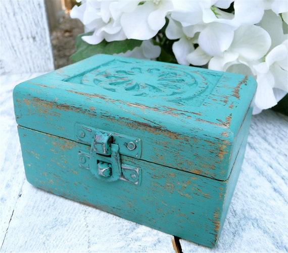 Dark teal shabby chic carved wood trinket box by - Telas shabby chic ...