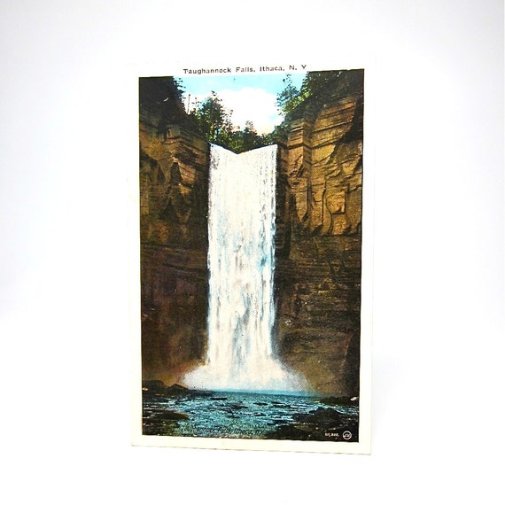 Vintage Ithaca Postcard NY State Taughannock Falls 1930s