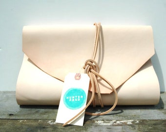 Natural Leather Portfolio with double tie closure