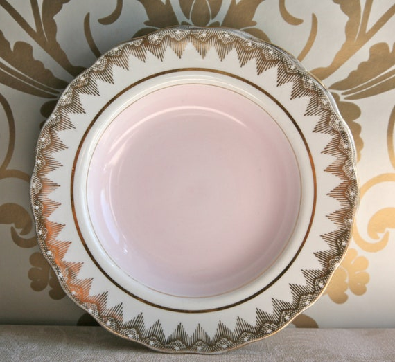 Reserved: Set of Four Glamourous Vintage Imperial Pink and Gilt Dinner Plates, 22 Kt Gold