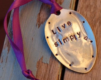 Ornament stamped // Live SImply hand stamped Vintage silver plate Spoon Ornament with Purple Ribbon