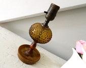Vintage Amber Glass Lamp Hobnail