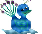 Modern Cross Stitch Kit 'Duck in a Peacock Suit' Cross Stitch Kit - Duck