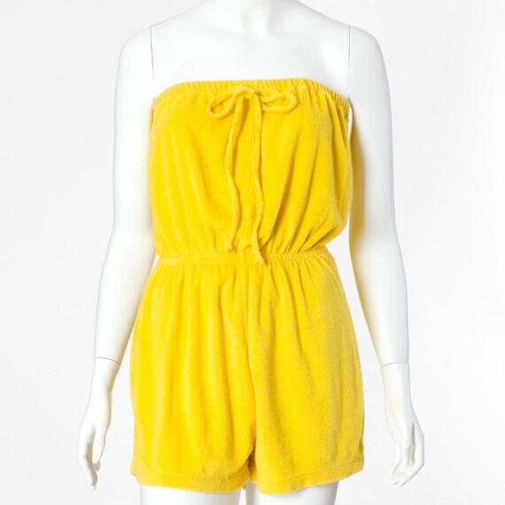 70s Vintage Romper Lemon Yellow Terrycloth Medium Large