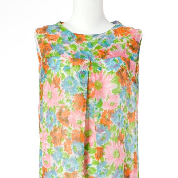 60s Vintage Dress Floral Print Sheer Blue Orange Green Small Medium