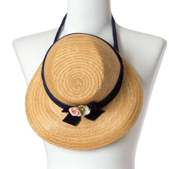 30s 40s Vintage Straw Hat Blue Velvet Ribbon Flowers