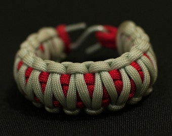 Paracord Survival Bracelet - Built with military training - Red and  White