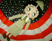 VIntage Cloth 18 inch Betty Boop USO Military Doll Excellent Condition