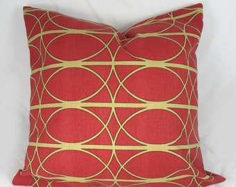 Trellis - Lattice -  Decorative Pillow Cushion Cover - Accent Pillow - Red, Godlish Khaki - 18 x 18 inch
