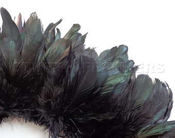 Wholesale bulk feathers - IRIDESCENT Black rooster coque feathers strung, real feather for millinery crafts / 3-6 in (7-15 cm) long / FB56-3