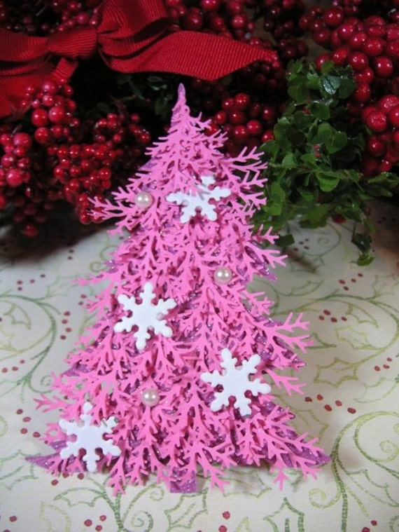Decorated Pink and White Christmas Tree Embellishment -Christmas Tag, Embellishment, Scrapbook, Cards, Shabby Chic