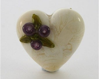 Handmade Lampwork Glass Heart Bead Ivory Red LE Team DUST Team SRA