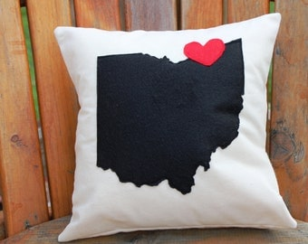 "12x12 ""I Love Cleveland"" Appliqued Pillow Cover"