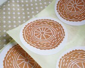 Circle handstamped Stickers Set of 12