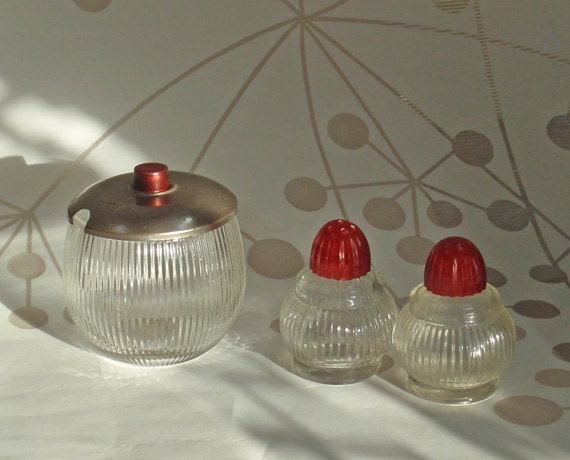 Cute 1950's diner-style glass salt & pepper shakers and sugar bowl