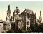 Aachen, Germany. 4 Vintage Photo Prints.  1890-1910.