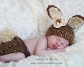 Bunny Beanie and Diaper Cover - Crochet Pattern 102 - Newborn to 2 Years - us and uk terms - INSTANT DOWNLOAD