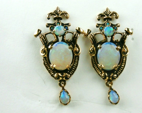 RESERVED FOR I  Vintage Opal and 14k Gold Earrings