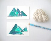 Set of 2 Geometric Gift Cards: Aqua Earth hand drawn note cards gift enclosure gift cards