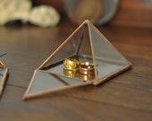 Pyramid Display Box - small glass pyramid - jewelry box - hinged - silver or copper - eco friendly