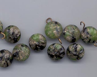 17 lampwork-like vintage lucite beads - 12.5 mm flattened rounds with raised design in muted green and matte gold