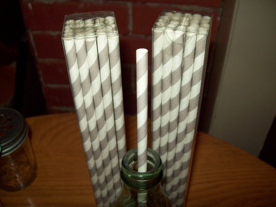 10 1/2 inches Long Retro Looking Grey & White Striped Paper Drinking Straws   25
