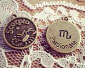2 Pcs SCORPIO Zodiac Sign Charms Antique Bronze SCORPIO Star Sign Charm Zodiac Small Charm Vintage Style Pendant Charm Jewelry Supplies