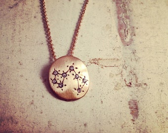 Hand Made Sagittarius Zodiac Sign Constellation Necklace Gold Constellation necklace Star Sign Charm Zodiac Charm W104
