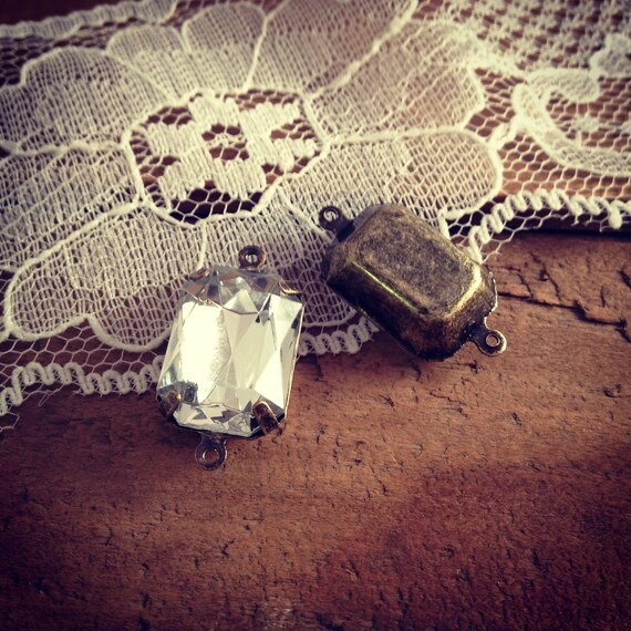 4 Pcs Large Jewel Charm diamond Drop Gem Connector Charm Jewels Rectangle diamond (U009)